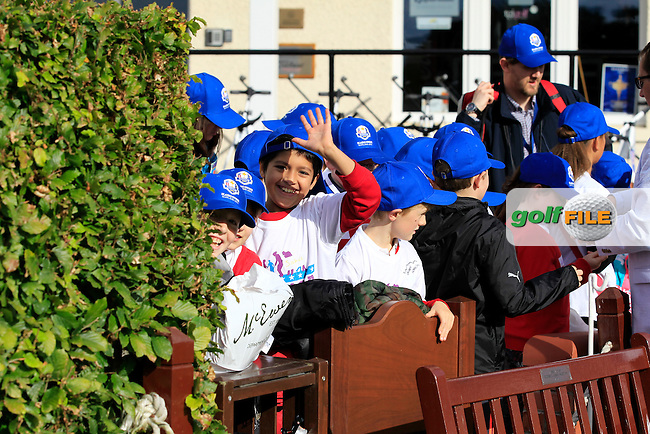 Children getting some freebies during Day 2 Singles for the Junior Ryder Cup 2014 at Blairgowrie Golf Club on Tuesday 23rd September 2014.<br /> Picture:  Thos Caffrey / www.golffile.ie