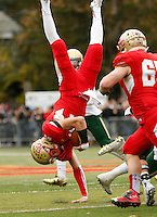 St. Joseph Regional Green Knights vs Bergen Catholic Crusaders at Bergen Catholic HS field, Oradell, NJ, on Saturday, October 24, 2015.  Bergen Catholic defeated St. Joseph Regional in OT by the score of 16 - 13.