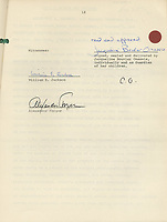 BNPS.co.uk (01202 558833)<br /> Pic: IAA/BNPS<br /> <br /> 'Jackie Bouvier Onassis' signature.<br /> <br /> Jackie O's £123million share of her late husband Aristole Onassis fortune revealed...The landmark settlement reached between Jackie Kennedy Onassis and her step-daughter over Aristotle Onassis' vast fortune has come to light 45 years later.The 23 page document was signed by both parties on May 7, 1975, ending months of legal wrangling over who would inherit the Greek shipping magnate's $500million. (£400m)According to the agreement, Onassis' only surviving child Christina would inherit his entire estate.In return, Christina made a one-off payment to JFK's widow, who married her father in 1968, of $20.5million. (£123m in todays money)The document is expected to fetch £18,000 when it goes under the hammer with International Autograph Auctions Europe, of Malaga, Spain.