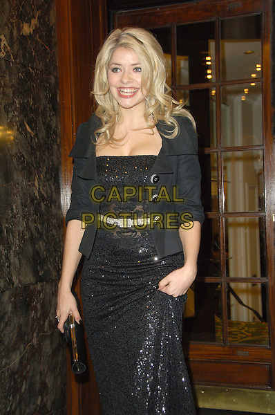 HOLLY WILLOUGHBY.RTS Programme Awards 2007 - Arrivals,.Grosvenor House, Park Lane, London, W1, England, March 19 2008 ..half length long black lace dress cardigan jacket grey belt.CAP/CAS.©Bob Cass/Capital Pictures