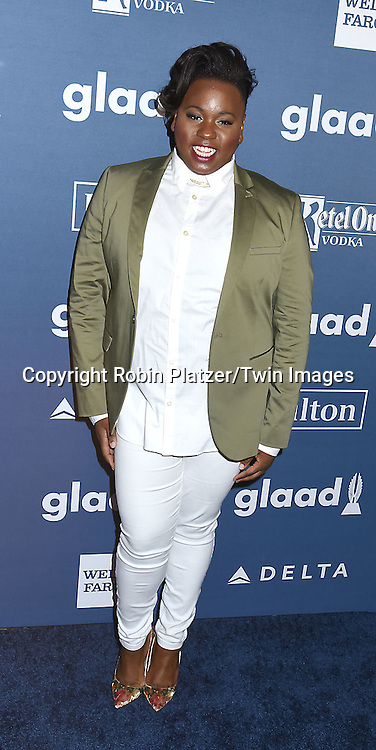 Alex Newell attends the 27th Annual GLAAD Media Awards on May 14, 2016 at the Waldorf Astoria Hotel in New York City, New York, USA.<br /> <br /> photo by Robin Platzer/Twin Images<br />  <br /> phone number 212-935-0770