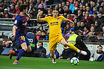 League Santander 2017/2018. Game: 28.<br /> FC Barcelona vs At. Madrid: 1-0.<br /> Sergi Roberto vs Filipe Luis.