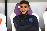 Jayden Bogle of Derby County and England in a cheerful mood on the substitute's bench during Chile Under-21 vs England Under-20, Tournoi Maurice Revello Football at Stade Parsemain on 7th June 2019