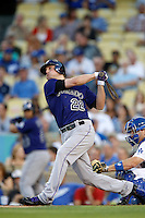 Jordan Pacheco #22 of the Colorado Rockies bats against the Los Angeles Dodgers at Dodger Stadium on September 29, 2012 in Los Angeles, California. Los Angeles defeated Colorado 3-0. (Larry Goren/Four Seam Images)