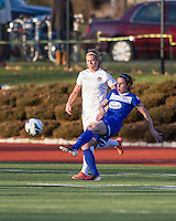 In a National Women's Soccer League Elite (NWSL) match, the Boston Breakers and  Washington Spirit drew 1-1, at the Dilboy Stadium on April 14, 2012.  Boston Breakers midfielder Heather O'Reilly (9) crosses the ball in front of Washington Spirit forward Stephanie Ochs (22).