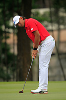 Gavin Green (Asia) on the 15th green during the Singles Matches of the Eurasia Cup at Glenmarie Golf and Country Club on the Sunday 14th January 2018.<br /> Picture:  Thos Caffrey / www.golffile.ie
