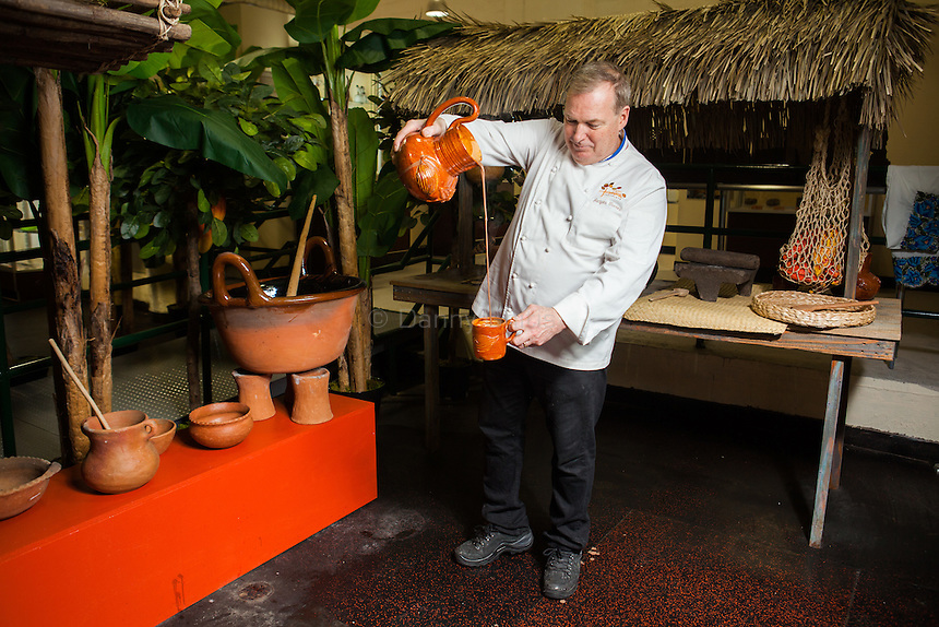 Chocolatier Jacques Torres in front of his new museum Choco-Story New York, The Chocolate Museum and Experience.