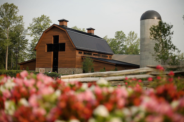 Thursday, May 31, Charlotte, North Carolina. Dedication of the new Billy Graham Library in Charlotte, North Carolina.. The facade of the new library, with a 40 foot cross as the entry point.