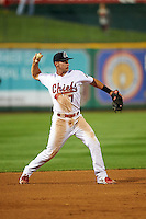 Peoria Chiefs third baseman Paul DeJong (7) throws to first during a game against the Wisconsin Timber Rattlers on August 21, 2015 at Dozer Park in Peoria, Illinois.  Wisconsin defeated Peoria 2-1.  (Mike Janes/Four Seam Images)