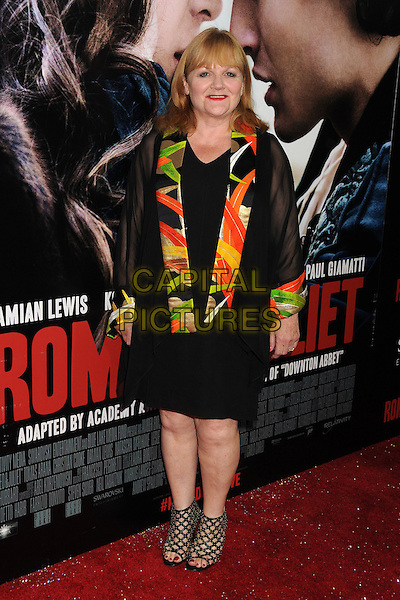 Lesley Nicol<br /> &quot;Romeo &amp; Juliet&quot; Los Angeles Premiere held at Arclight Cinemas, Hollywood, California, USA.<br /> September 24th, 2013<br /> full length black dress sheer orange green print pattern collar<br /> CAP/ADM/BP<br /> &copy;Byron Purvis/AdMedia/Capital Pictures