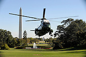"""Marine 1 carrying United States President Barack Obama and First Lady Michelle Obama arrives at the White House in Washington, DC, September 8, 2010.The President was traveling to Cleveland, Ohio to deliver remarks on the economy at Cuyahoga Community College West Campus and the First Lady attended a """"Let's Move"""" event in Louisiana..Credit: Olivier Douliery / Pool via CNP"""