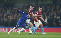 West Ham United's Declan Rice and Mark Noble challenge Chelsea's Ngolo Kante<br /> <br /> Photographer Rob Newell/CameraSport<br /> <br /> The Premier League - Chelsea v West Ham United - Monday 8th April 2019 - Stamford Bridge - London<br /> <br /> World Copyright &copy; 2019 CameraSport. All rights reserved. 43 Linden Ave. Countesthorpe. Leicester. England. LE8 5PG - Tel: +44 (0) 116 277 4147 - admin@camerasport.com - www.camerasport.com