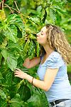 Noni plants with a model<br /> El Salvador