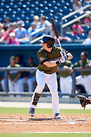 Biloxi Shuckers catcher Tyler Heineman (8) at bat during a game against the Jacksonville Jumbo Shrimp on May 6, 2018 at MGM Park in Biloxi, Mississippi.  Biloxi defeated Jacksonville 6-5.  (Mike Janes/Four Seam Images)