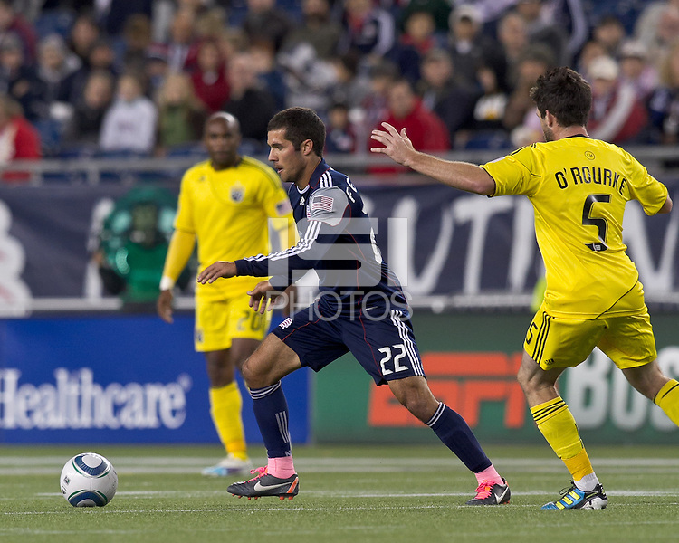 New England Revolution midfielder Benny Feilhaber (22) at midfield.  In a Major League Soccer (MLS) match, the Columbus Crew defeated the New England Revolution, 3-0, at Gillette Stadium on October 15, 2011.