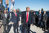 United States President Donald J. Trump makes a statement prior to going into the Pentagon in Washington, DC for meetings on Thursday, January 18, 2018.  Pictured from left to right: US Secretary of Defense Jim Mattis, US Vice President Mike Pence, President Trump, White House Chief of Staff John Kelly, and VP Pence's Chief of Staff Nick Ayers.<br /> Credit: Ron Sachs / Pool via CNP