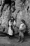 Avebury Wiltshire, Druid wedding blessing event 1996. A young girl gives flowers to Emma Restall Orr the high priestess of the British Druid Order,