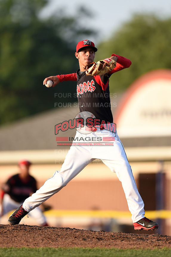 Batavia Muckdogs pitcher Jorgan Cavanerio (35) delivers a pitch during a game against the Connecticut Tigers on July 21, 2014 at Dwyer Stadium in Batavia, New York.  Connecticut defeated Batavia 12-3.  (Mike Janes/Four Seam Images)