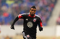 Lionard Pajoy (26) of D. C. United. The New York Red Bulls and D. C. United played to a 0-0 tie during a Major League Soccer (MLS) match at Red Bull Arena in Harrison, NJ, on March 16, 2013.