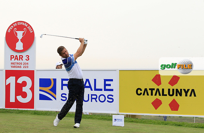 Robert Rock (ENG) on the 13th tee during Round 1 of the Open de Espana  in Club de Golf el Prat, Barcelona on Thursday 14th May 2015.<br /> Picture:  Thos Caffrey / www.golffile.ie