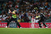 David Warner of Australia is bowled by Ish Sodhi of New Zealand. New Zealand Black Caps v Australia, Final of Trans-Tasman Twenty20 Tri-Series cricket. Eden Park, Auckland, New Zealand. Wednesday 21 February 2018. © Copyright Photo: Anthony Au-Yeung / www.photosport.nz