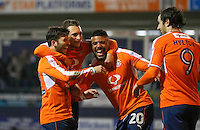 Luke Gambin of Luton Town (far left) celebrates his goal with fellow team mates during the Sky Bet League 2 match between Luton Town and Hartlepool United at Kenilworth Road, Luton, England on 14 March 2017. Photo by Liam Smith.