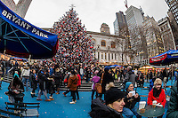 New York City, USA 28 December 2016 - Tourists admire the  Bryant Park Christmas Tree ©Stacy Walsh Rosenstock