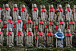 Small Jizo Bodhisattva statues act as a shrine to stillborn children at Engyoji Temple on Mount Shosha