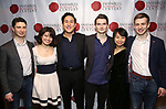 """Matthew Cohen, Zhenni Li, Henry Wang, Maximilian Morel, Mari Lee and Ari Evan attends the Opening Night Celebration for Ensemble for the Romantic Century Off-Broadway Premiere of<br />""""Maestro"""" at the West Bank Cafe on January 15, 2019 in New York City."""