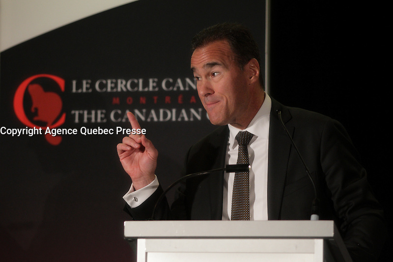 Pierre Dion, President &amp; CEO of Quebecor deliver a speech to the Canadian Club of Montreal, Monday november 30, 2015.<br /> <br />  In this talk, Pierre Dion, adresse the challenges facing Quebecor and the strategies it has implemented to succeed in an environment where digital technology is disrupting all lines of business.<br /> <br /> PHOTO : Pierre Roussel - Agence Quebec Presse