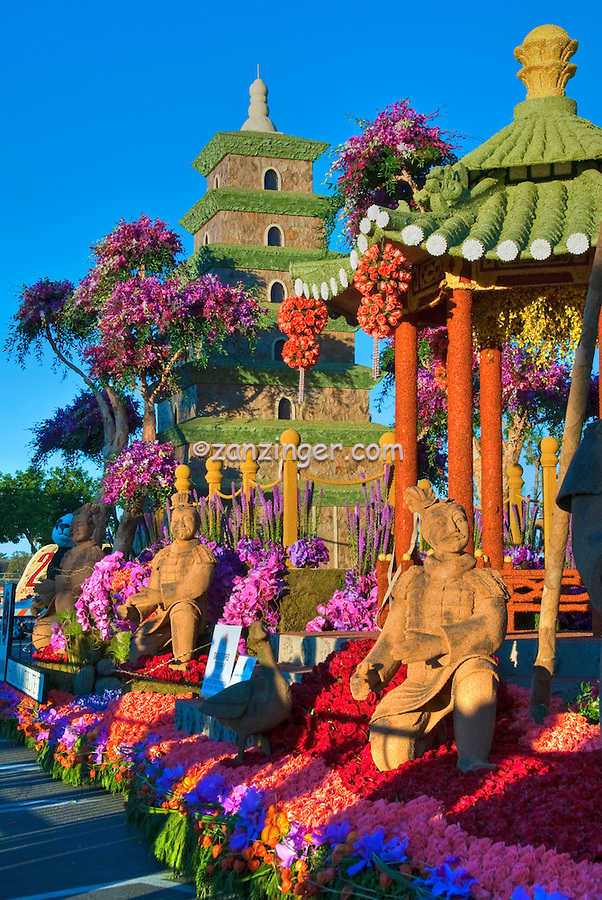 """Rose Parade, Float, Directors' Trophy, Phoenix, Satellite TV, """"Dance with the Terra Cotta Warriors"""" showcasing the Province of Shaanxi China,"""
