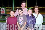 GREYHOUND FUN: Having great fun at the Kingdom Greyhound Stadium Night at the Dogs on Saturday l-r: Codi Dauti, Bradley Lynch, Tom Lynch, Jennifer Lynch and Blathnaid Cotter, Tralee.
