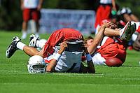 Aug. 1, 2009; Flagstaff, AZ, USA; Arizona Cardinals quarterback Matt Leinart stretches during training camp on the campus of Northern Arizona University. Mandatory Credit: Mark J. Rebilas-