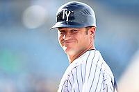 Tampa Yankees coach JD Closser (24) during a game against the Dunedin Blue Jays on June 28, 2014 at George M. Steinbrenner Field in Tampa, Florida.  Tampa defeated Dunedin 5-2.  (Mike Janes/Four Seam Images)