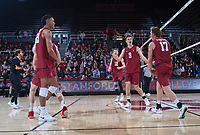 STANFORD, CA - March 2, 2019: Jaylen Jasper, Stephen Moye, Eli Wopat, Jordan Ewert, Kyle Dagostino at Maples Pavilion. The Stanford Cardinal defeated BYU 25-20, 25-20, 22-25, 25-21.