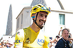 New race leader Yellow Jersey Julian Alaphilippe (FRA) Deceuninck-Quick Step lines up for Stage 4 of the 2019 Tour de France running 213.5km from Reims to Nancy, France. 9th July 2019.<br /> Picture: Colin Flockton | Cyclefile<br /> All photos usage must carry mandatory copyright credit (© Cyclefile | Colin Flockton)