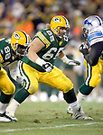 Green Bay Packers offensive lineman Mark Tauscher (65) during an NFL football game against the Detroit Lions at Lambeau Field on December 12, 2004 in Green Bay, Wisconsin. The Packers defeated the Lions 16-13. (Photo by David Stluka)