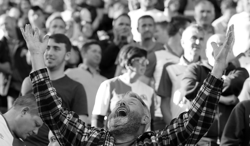 Blackburn Rovers fans show their relief as they see their side record a win<br /> <br /> Photographer David Shipman/CameraSport<br /> <br /> The EFL Sky Bet Championship - Blackburn Rovers v Rotherham United - Saturday 17 September 2016 - Ewood Park - Blackburn<br /> <br /> World Copyright &copy; 2016 CameraSport. All rights reserved. 43 Linden Ave. Countesthorpe. Leicester. England. LE8 5PG - Tel: +44 (0) 116 277 4147 - admin@camerasport.com - www.camerasport.com