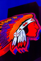 Indian Chief Neon Sign, Skip Maisel Indian Jewelry & Crafts, Central Avenue SW (Historic Route 66), Downtown Albuquerque, New Mexico USA.