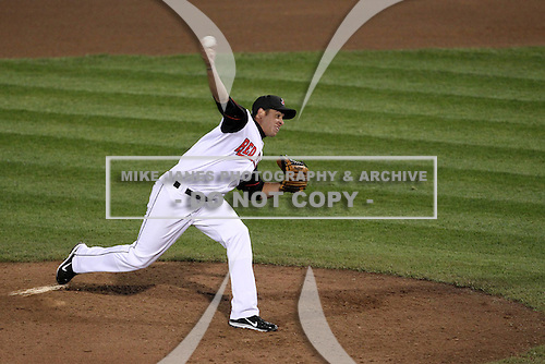 Rochester Red Wings starting pitcher Anthony Swarzak #40 delivers a pitch during a game against the Scranton Wilkes-Barre Yankees at Frontier Field on April 12, 2011 in Rochester, New York.  Scranton defeated Rochester 5-3.  Photo By Mike Janes/Four Seam Images