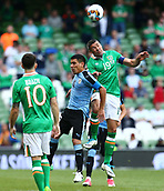 June 4th 2017, Aviva Stadium, Dublin, Ireland; International Friendly, Ireland versus Uruguay;  Jonathan Walters of Ireland wins the header