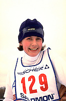 Happy cross country skier age 30 at Lake Phalen after finishing race.  St Paul  Minnesota USA