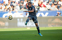 CARSON, CA - SEPTEMBER 29: Theo Bair #50 of the Vancouver Whitecaps takes a shot during a game between Vancouver Whitecaps and Los Angeles Galaxy at Dignity Health Sports Park on September 29, 2019 in Carson, California.