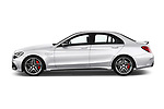 Car Driver side profile view of a 2018 Mercedes Benz C-Class AMG-C63-S 4 Door Sedan Side View