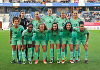 20180406 - LEUVEN , BELGIUM : Portugese team with Ines Pereira (1)   Raquel Infante (3)   Matilde Fidalgo (5)   Andreia Norton (6)   Claudia Neto (7)   Ana Borges (9)   Tatiana Pinto (11)   Dolores Silva (14)   Carole Costa (15)   Diana Silva (16)   Vanessa Marques (17)   pictured during the female soccer game between the Belgian Red Flames and Portugal , the fourth game in the qualificaton for the World Championship qualification round in group 6 for France 2019, Friday 6 th April 2018 at OHL Stadion Den Dreef in Leuven , Belgium. PHOTO SPORTPIX.BE | DIRK VUYLSTEKE