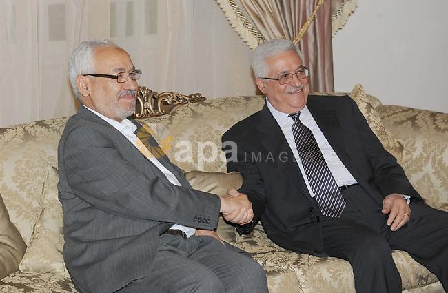 Palestinian President Mahmoud Abbas (Abu Mazen)  during the meeting of the Renaissance Party, Rashid Ghannouchi, in Tunisia on Nov. 11, 2011. Photo by Thaer Ganaim