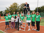 Minister of State at the Department of Rural affairs Michael Ring TD, with members of Westport Tennis Club at the official opening of the upgraded courts at the club.<br />