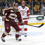 Kevin Hayes (BC - 12), Garrett Noonan (BU - 13) - The Boston College Eagles defeated the Boston University Terriers 3-1 (EN) in their opening round game of the 2014 Beanpot on Monday, February 3, 2014, at TD Garden in Boston, Massachusetts.