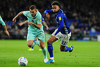 Àngel Rangel of Queens Park Rangers vies for possession with Àngel Rangel of Queens Park Rangers during the Sky Bet Championship match between Cardiff City and Queens Park Rangers at the Cardiff City Stadium in Cardiff, Wales, UK. Wednesday 02 October, 2019