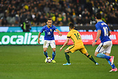 June 13th 2017, Melbourne Cricket Ground, Melbourne, Australia; International Football Friendly; Brazil versus Australia; Marcio Rafael Souza of Brazil looks to play past the pressure from Aziz Behich
